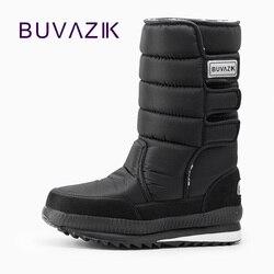 الذكور الأحذية سماكة الحرارية للماء الثلوج الأحذية القطن النسيج داخل الدافئة الركبة عالية في الرجال أزياء الشتاء أحذية