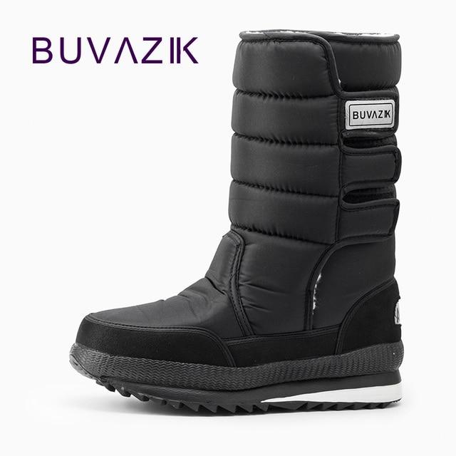Nam khởi động dày nhiệt tuyết không thấm nước bông vải bên trong ấm Cao Đến Đầu Gối người đàn ông ngoài trời thời trang mùa đông giày