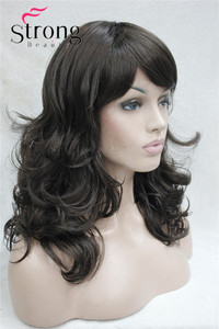 Image 3 - StrongBeauty Medium Length Wavy Dark Brown Full Synthetic Wig Womens Wigs COLOUR CHOICES