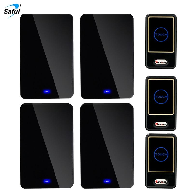 Saful Waterproof Wireless doorbell black Touch Button Doorbell with 3 Outdoor Transmitter + 4 Indoor Wireless Doorbell Receiver saful wireless button doorbell
