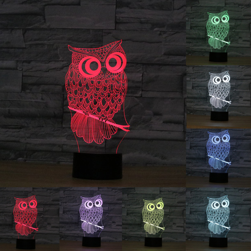 7 Color Owl Lamp 3D Visual acrylic Led Night Lights for Kids Touch USB touch Table