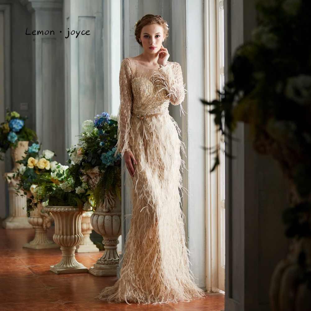 Лимон joyce Роскошные Шампанское Вечерние платья с длинным рукавом  Элегантный Иллюзия Бисер Перья Формальное вечернее платье 923de09101a44