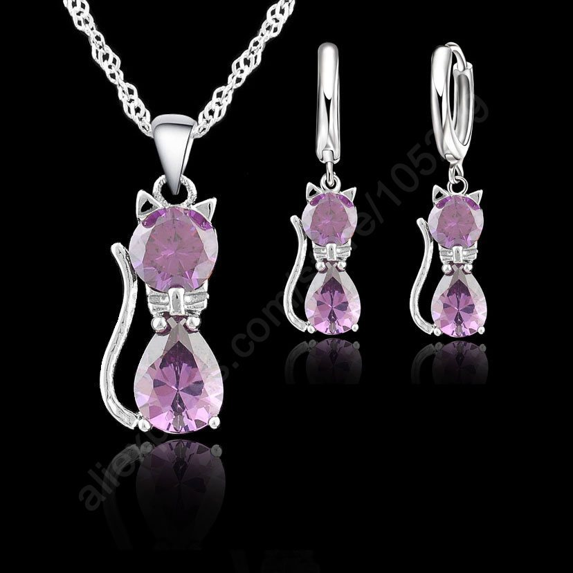 Fine Accessories Jewelry Sets Purple Real Pure 925 Sterling Silver Cute Cat Shaped Set Necklace and Earrings New