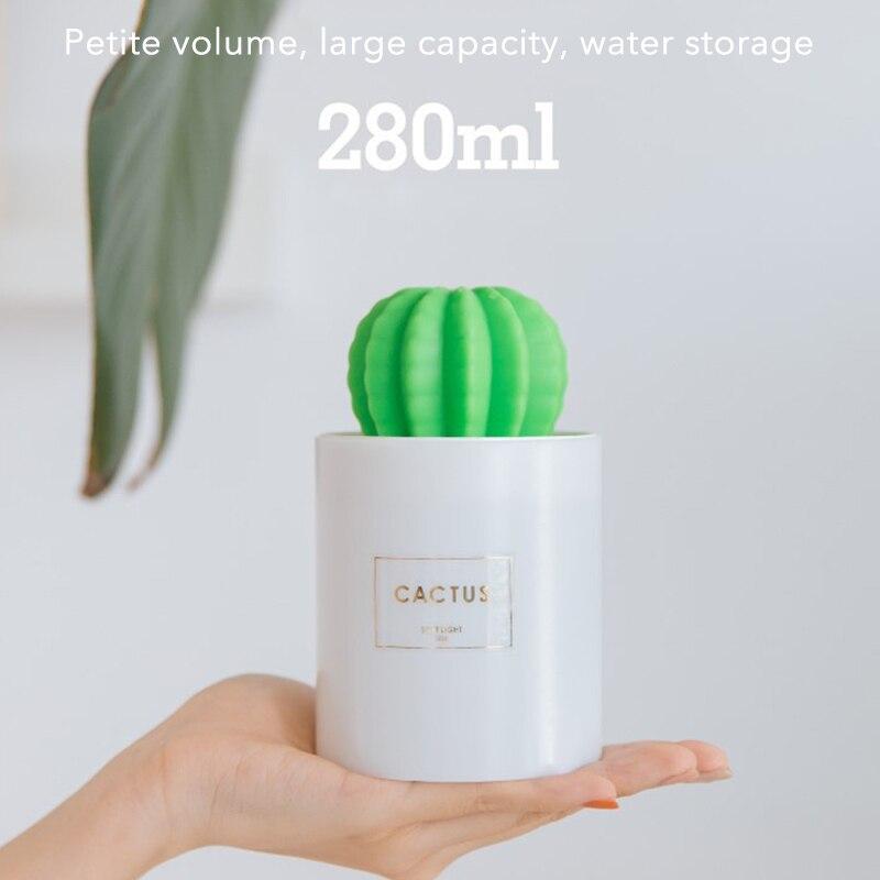 Cactus Mini Air Humidifier Usb Lamp Portable Air Humidifier Mist Maker Fogger 300ml Creative Led Diffuser