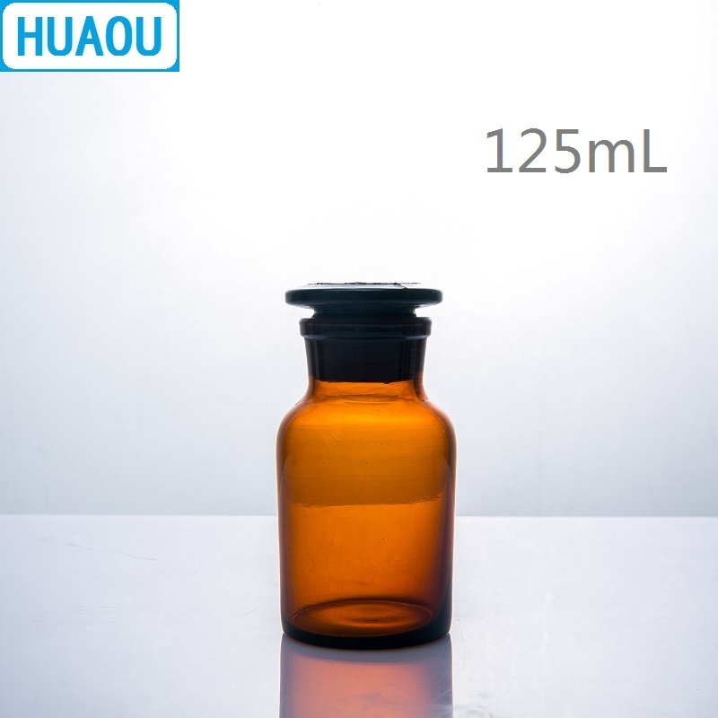 HUAOU 125mL Wide Mouth Reagent Bottle Brown Amber Glass With Ground In Glass Stopper Laboratory Chemistry Equipment