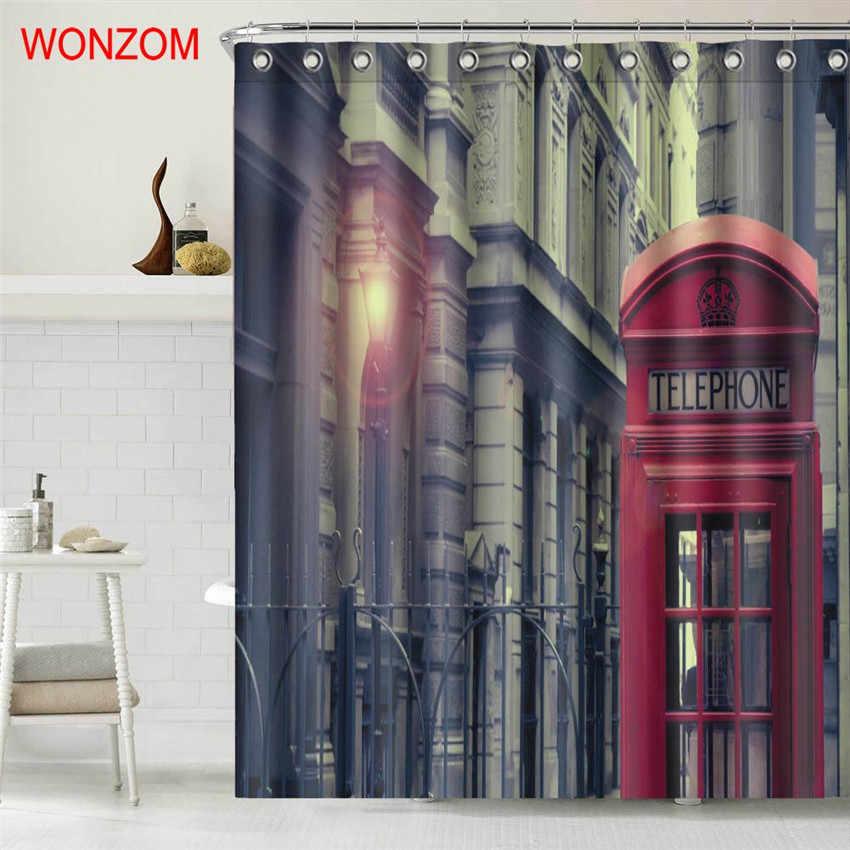 Wonzom الهاتف بوث الاكسسوارات دش ستائر الحمام للماء مع 12 خطاف لديكور المشهد الحديثة حمام الستار