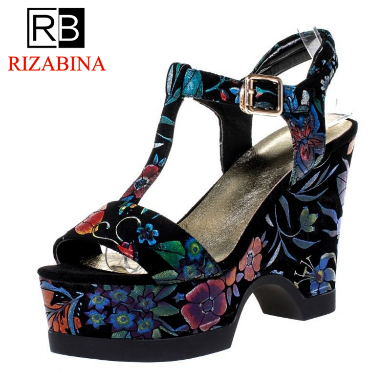 RizaBina Women High Heel Sandals Buckle Platform Print Genuine Leather Women Summer Shoes Vintage For Party Footwear Size 34-39 fujin brand 2018 summer shoes for women platform sandals with high heel lady leather shoes footwear pink leather slip on sandals