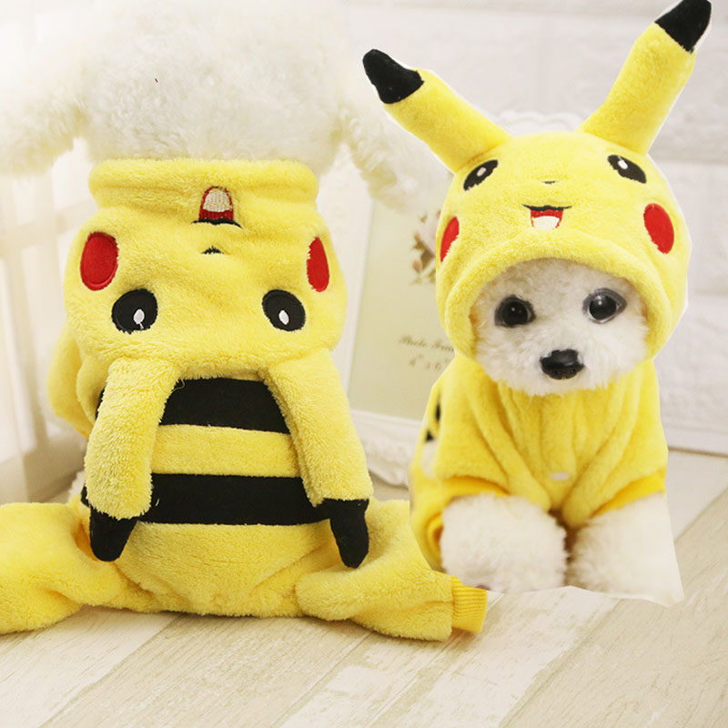 Cute Pikachu Cosplay Costume Dogs Cats Clothes Puppy Hoodie Autumn Winter Warm Soft Coat Car phone