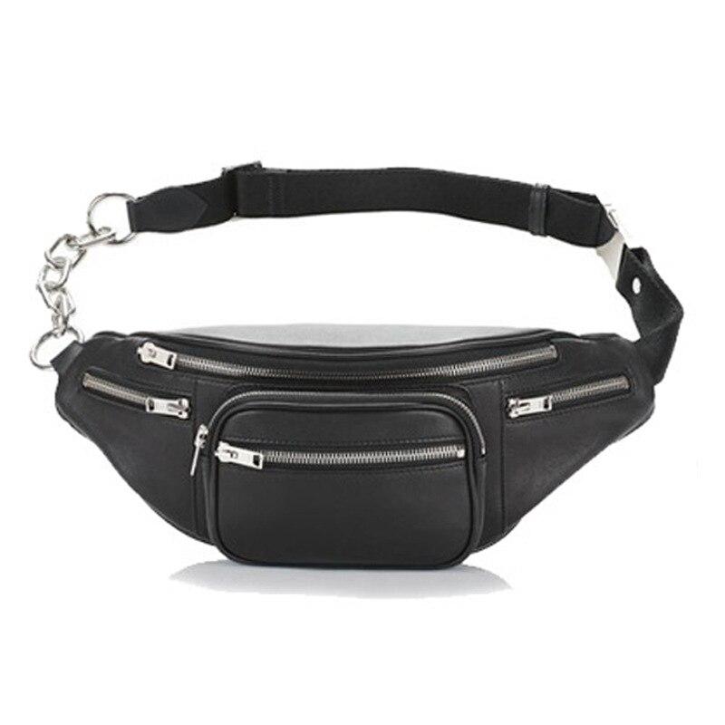 Fashion Quality PU Leather Metal Button Chain Fanny Pack Waist Bag Bananka Anti-theft Women Walking Shopping Belly Band Belt Bag