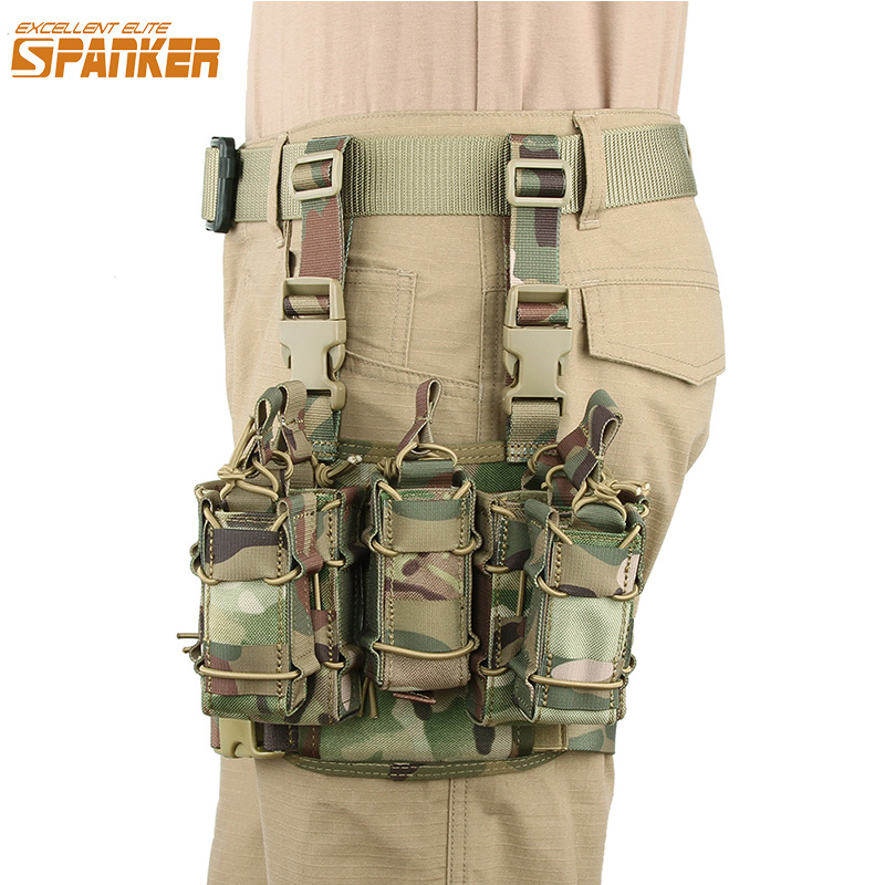 EXCELLENT ELITE SPANKER Combination Ammo Clip Bag Outdoor Tactical MOLLE Leg Holsters Magazine Pouch Military Hunting Equipment цена