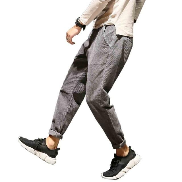 מזדמן בתוספת גודל שחור יין אפור קורדרוי מכנסיים לגברים כותנה Loose בבאגי הרמון מכנסיים גדול צד כיסי ירך הופ pantalon Homme