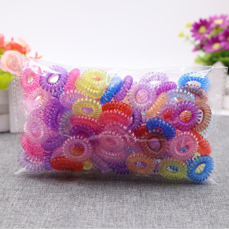 50 шт маленький телефонный провод шнур прозрачные разноцветные повязки резиновые ленты эластичные резинки для волос для девочек резинки дл...