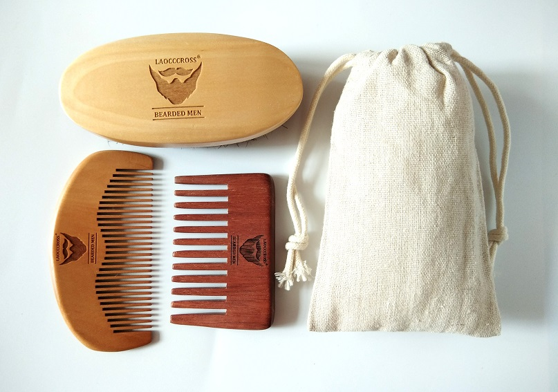 100% Boar Bristle Beard Brush&Red Handmade Wide Tooth Comb For Men Bear Care Gift Mustache/Hair Brush Can Engrave Logo janeke silver large wide tooth comb