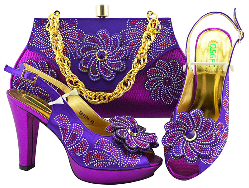 CALEEBEAR  Purple Color Fashion Italian Shoes With Matching Bags African High Heel Women Shoes And Bags Set For Prom Party