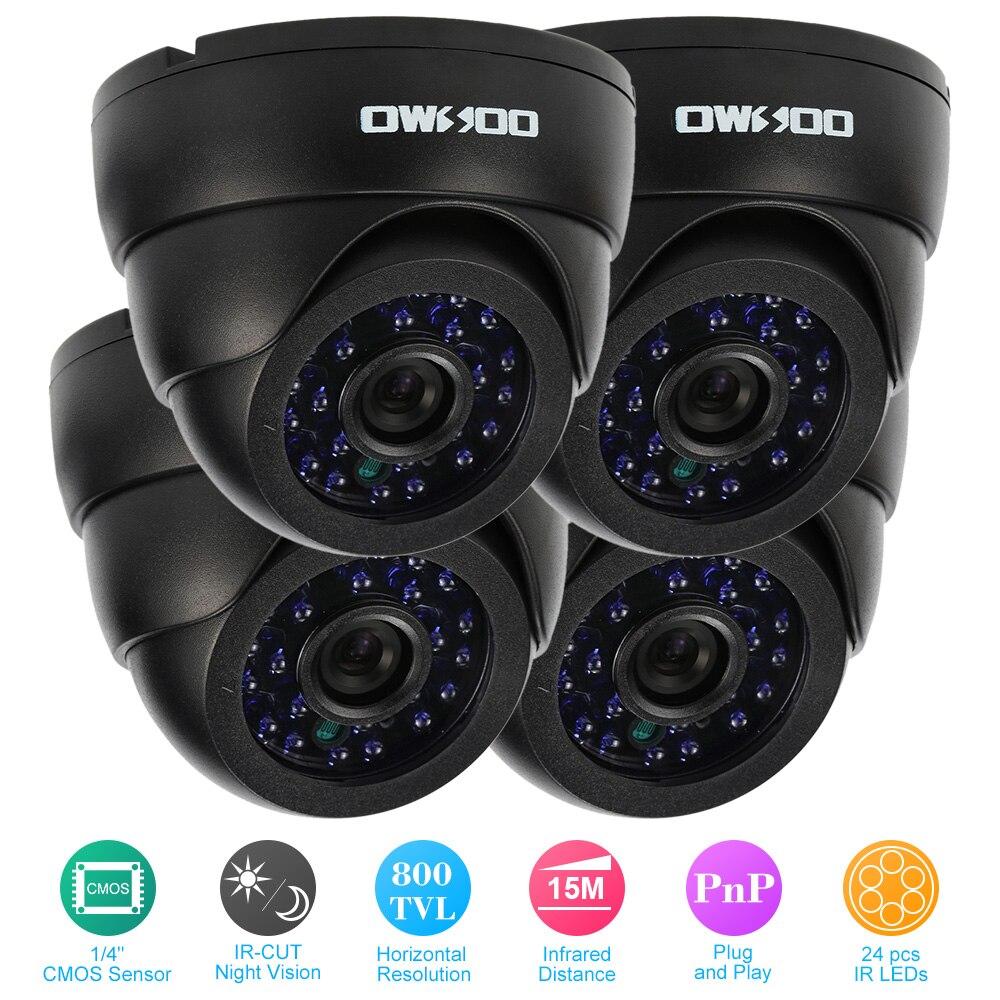 OWSOO 4 pièces 800TVL intérieur IR Vision nocturne Surveillance à domicile sécurité CCTV caméras Kit Plug And Play système de Surveillance à domicile-in Système de surveillance from Sécurité et Protection on AliExpress - 11.11_Double 11_Singles' Day 1