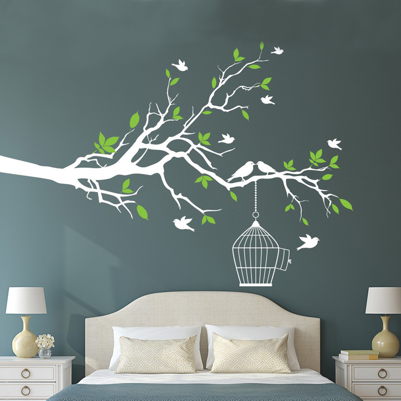 Aliexpress.com : Buy Mmctum Brand Tree Branch With Bird Cage Vinyl Wall Art Birds  Sticker Wall Stickers Decorative Home Decor Free Shipping From Reliable ... Part 53