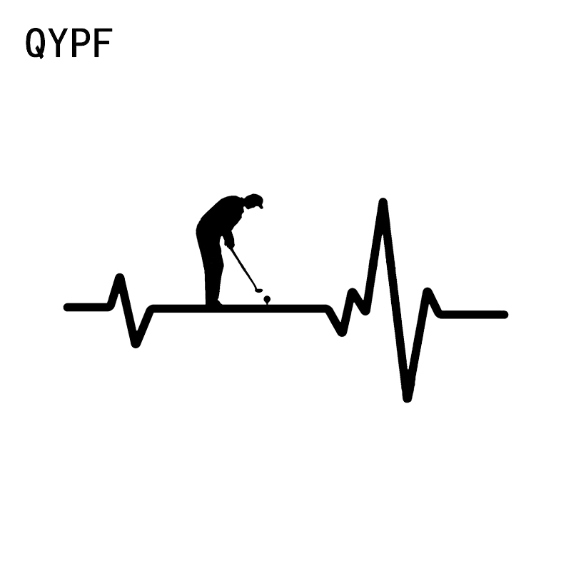 QYPF 17.1*8CM Mysterious Electrocardiogram Golf Sport Decor Car Sticker Vinyl Accessories Silhouette Motorcycle Decals C16-1472