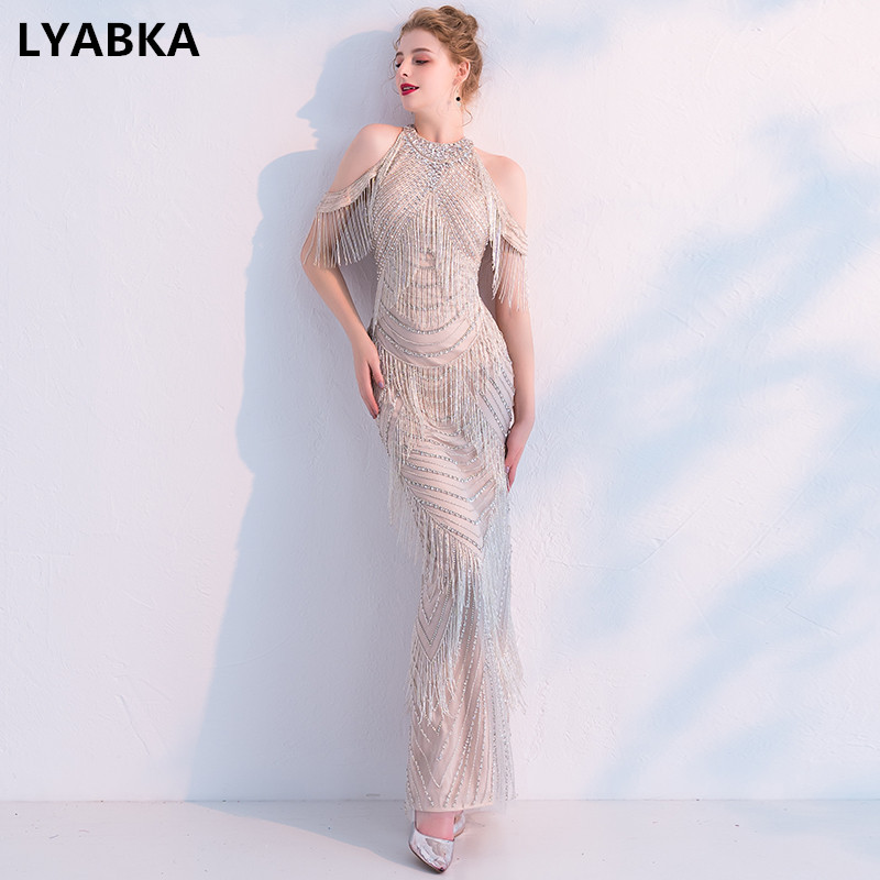 ded506c1b4 Big Sale] 2019 Jusere High End Real Photos Champagne Beaded ...