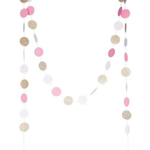(champaign gold,Pink,White)11 Feet Circle Garland Polka Dots Paper Garland Photo Props Baby Shower Bridal Shower Wedding Decor