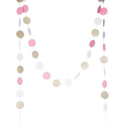 (champaign gold,Pink,White)11 Feet Circle Garland Polka Dots Paper Garland Photo Props Baby Shower Bridal Shower Wedding Decor