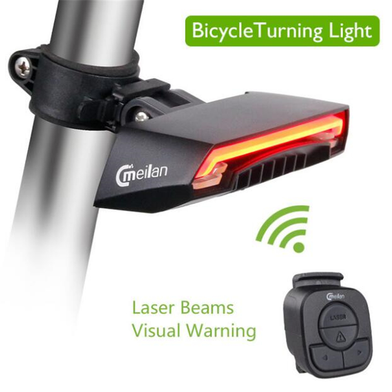 Meilan X5 Bicycle Smart Rear Light Bike Wireless Remote Turning Control Signal Tail Lamp Laser Beam USB Rechargeable Cycling meilan x5 wireless bike bicycle rear light laser tail lamp smart usb rechargeable cycling accessories remote turn led
