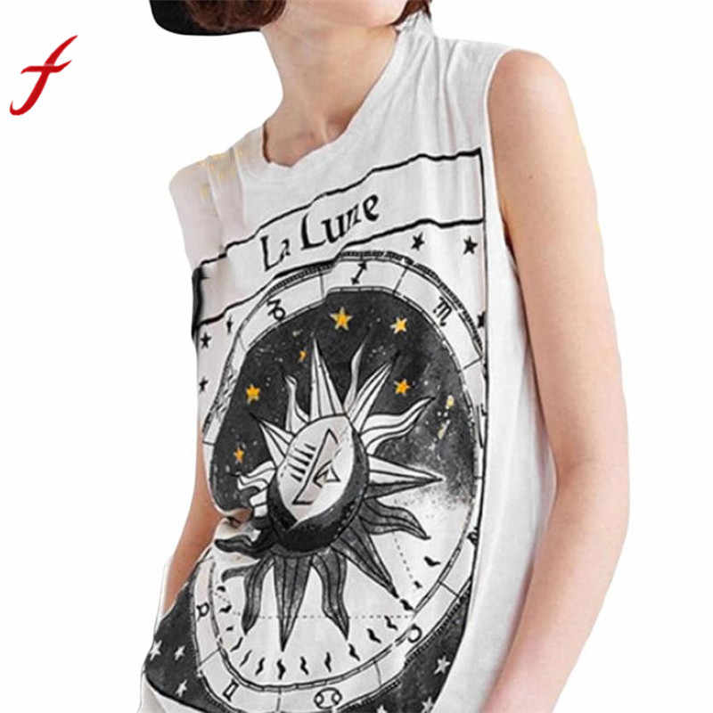Hot Sale Casual T Shirt 2018 New Fashion Sexy Women Star Moon Letter Print Sleeveless Crop Top Vest Popular Casual Brand T Shirt