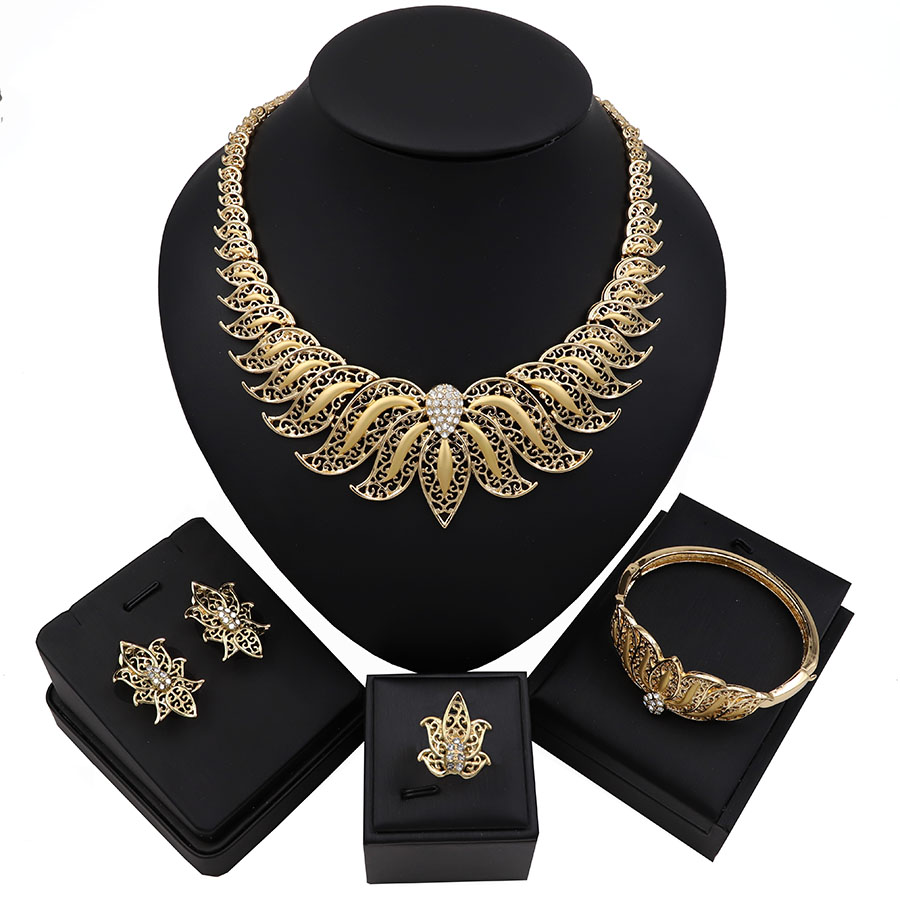 TSROUND Nigerian Jewelry Sets for Women African Costume Design Wholesale Simple Charm Bracelet Earring Ring Necklace(China)