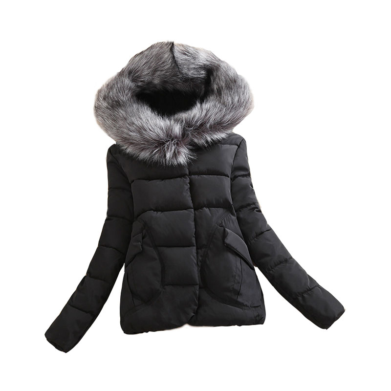 New 2016 Winter Jacket Women Fashion Short Solid Zipper Silm Standard Full Cotton Coats Plus Size
