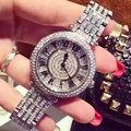 Mashali Fashion Full Austria Crystal Rotatable Dial Steel Strap Buiness Quartz Watch For Women Wristwatch relojes mujer 2016