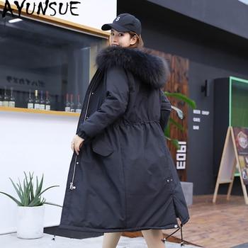 Winter Down Jacket Woman Hooded Large Fur Collar Long Coat Plus Size Korean Thick Warm Women's Jackets Doudoune Femme 651 KJ2613