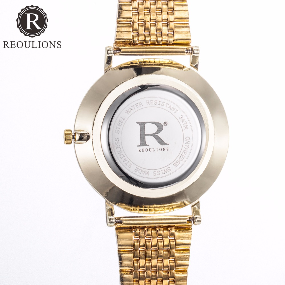 REOULIONS Top Luksus Brand New Arabic Numbers Watch Fashion Steel - Dameure - Foto 5