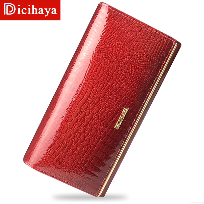DICIHAYA Genuine Leather Women Wallets Multifunction Purse With Card Holder Long Wallet Clutch Bag Ladies Patent Leather Wallets