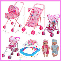 Baby Educational Pretend Play Folding Baby Stroller Toys With Dolls Walkers Umbrella Pushchair Pram Furniture Toys
