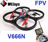 Barato (En stock) original WLtoys V666N FPV 5,8G 6 ejes giroscopio UFO barómetro conjunto alto RC Quadcopter con Monitor de cámara de 2 MP RTF