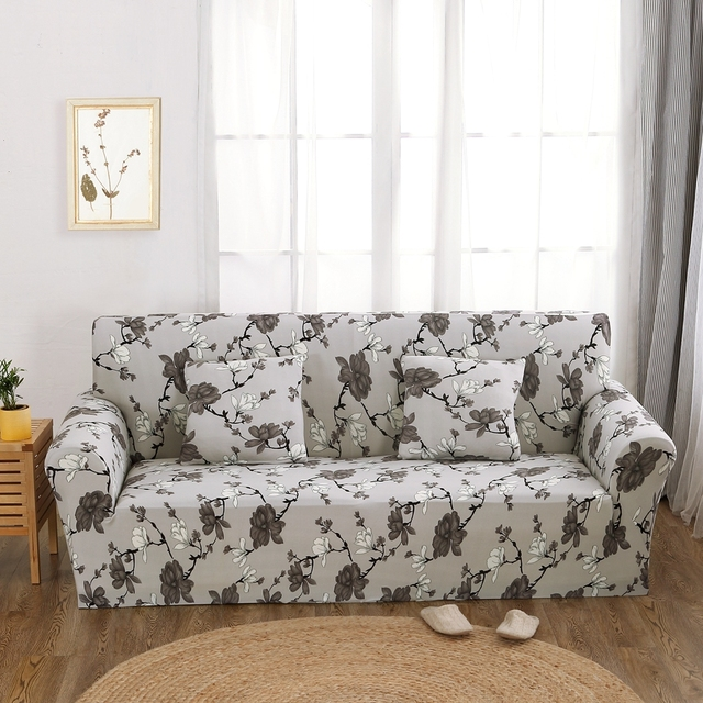 Flowers Universal Stretch Furniture Covers Grey Couch Sofa Polyester Corner Slipcovers Multi Size