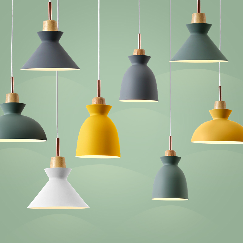 Nordic Modern Colorful Wood Pendant Lamp for Restaurant Bar Dinning Room Lamparas design shade Luminaire Pendant Lights nordic wood pendant light modern led suspension warm luminaire hanging lamp lamparas colgantes light shade for parlor restaurant