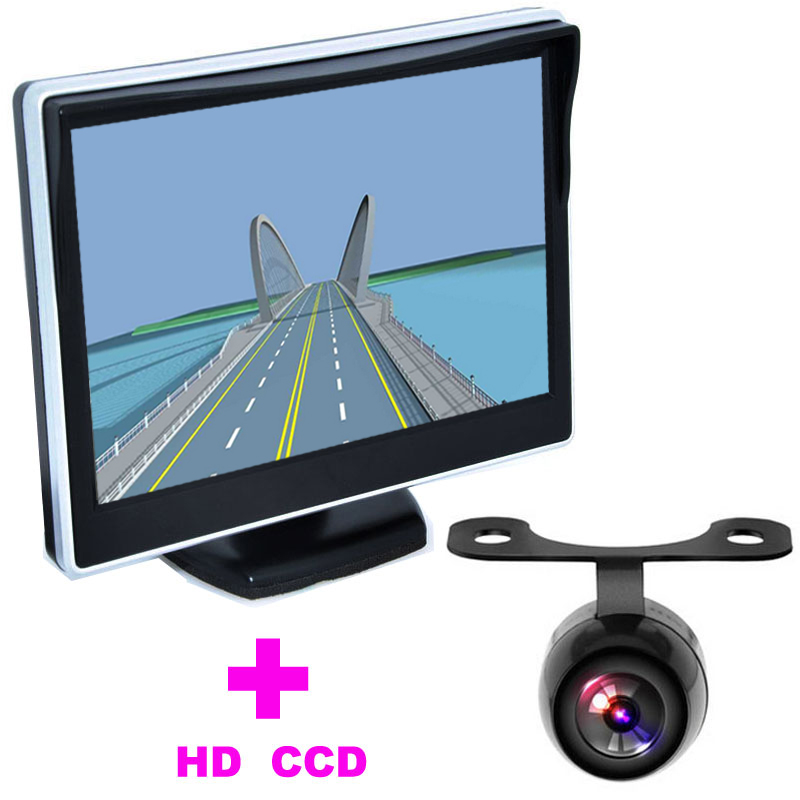 5 TFT LCD Car Monitor 2 in 1 Auto Parking Assistance System Universal Car Rearview font