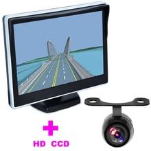 5 «TFT LCD Moniteur De Voiture + 2 en 1 Auto Aide Au Stationnement système Universel De Voiture Caméra de Recul caméra de recul HD 170 Angle moniteur