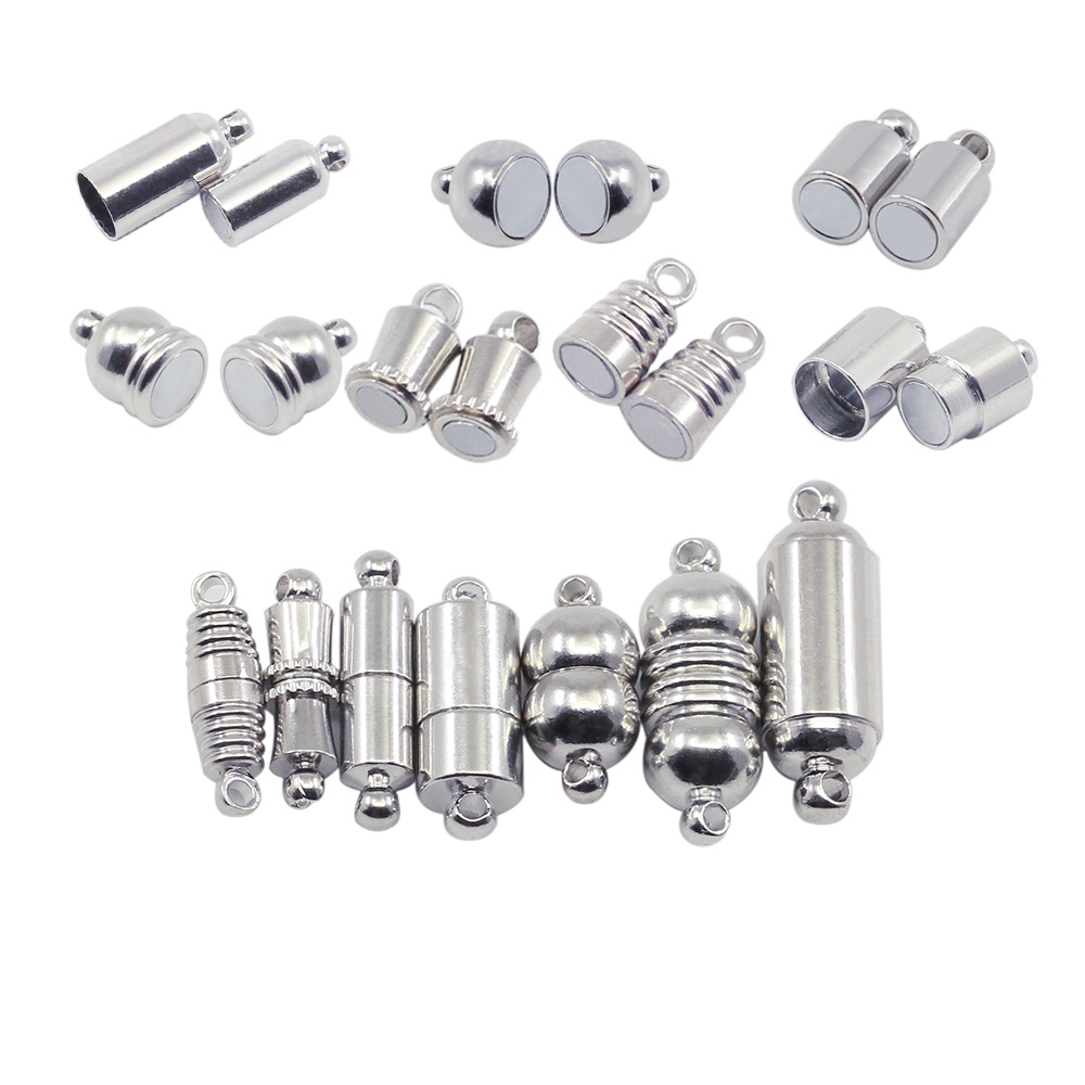 10pcs/lot Silver Magnetic Clasps Stainless Steel Connector Fit Leather Cord Necklace Bracelet Connectors For DIY Jewelry Making