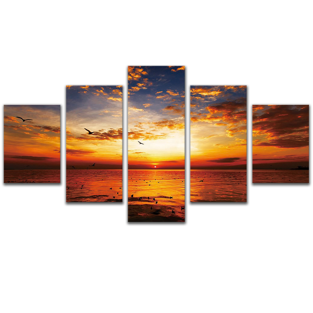 Unframed Canvas Painting Sunset Dusk Clouds Sea Level Photo Picture Prints Wall Picture For Living Room Wall Art Decoration