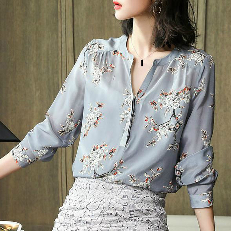 2019 Spring Fashion Women Flower Print Long Sleeve Chiffon Blouses And Tops , Woman Clothes , Korean Womens Shirt Floral Top