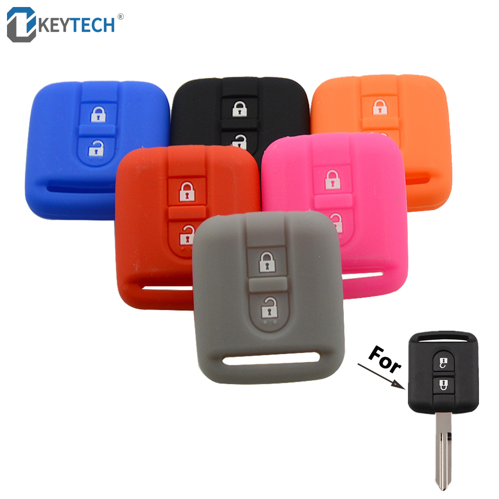 OkeyTech Car Key Cover Case Fob Replacement Silicone Rubber For Nissan Qashqai Micra Navara Almera Remote Key Cover Fob 2 Button