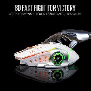 Image 3 - T WOLF Q13 mysz bezprzewodowa na akumulator cichy ergonomiczne myszy do gier 6 klawiszy RGB podświetlenie 2400 DPI dla Laptop Pro Gamer
