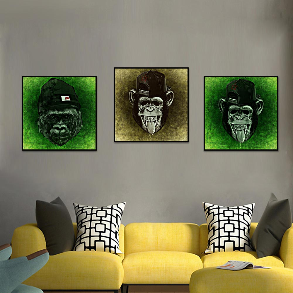 Unframed HD Canvas Prints Hat Monkey Orangutan Painting Prints Wall Pictures For Living Room Wall Art Decoration Dropshipping