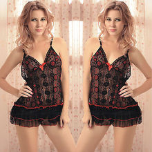 Sexy Ruffled Black Lingerie Babydoll Dress Dot Floral Nightie Chemise XS-S / 4-8