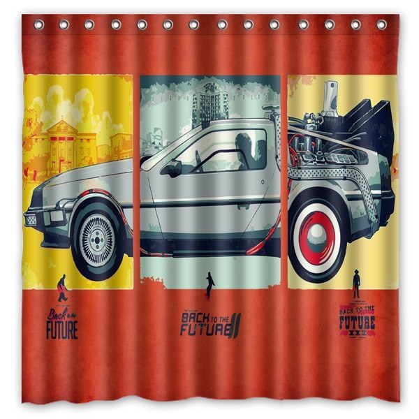Back To The Future Pattern Creative Bath Shower Curtains Bathroom Waterproof Polyester Fabric Curtain 180x180cm