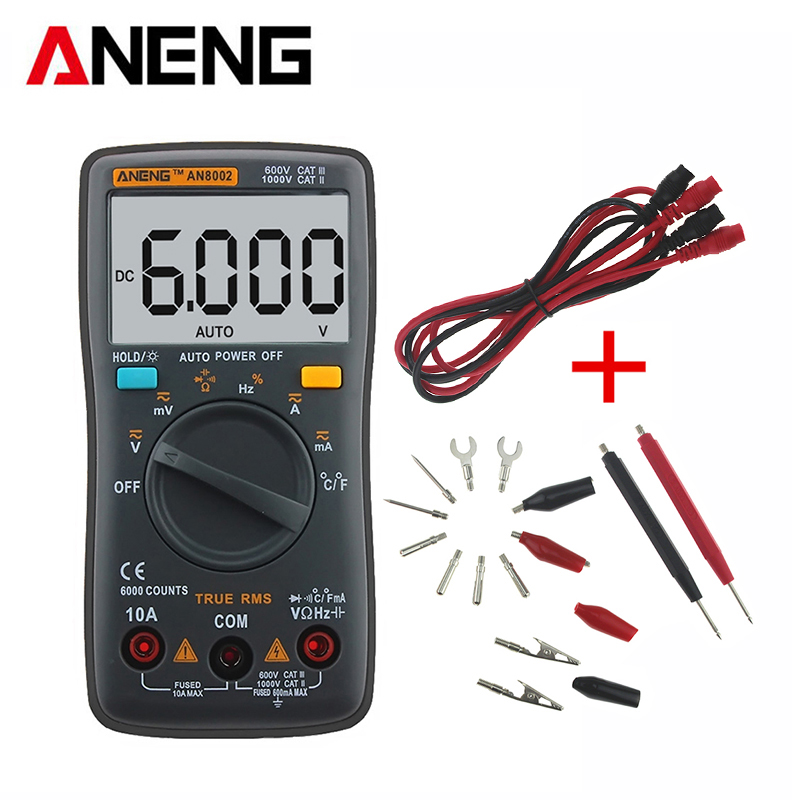 ANENG AN8002 Digital Multimeter True RMS Auto Range AC/DC Ammeter Voltmeter Ohm Electrical LCD Meter Multimetro With Test Lead все цены