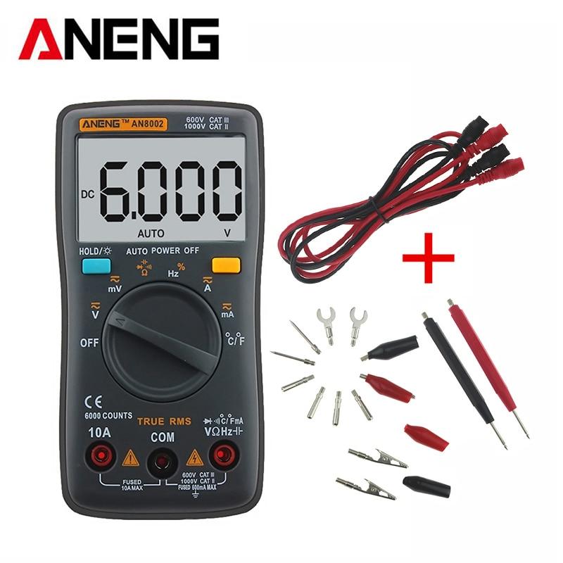 все цены на ANENG AN8002 Digital Multimeter True RMS Auto Range AC/DC Ammeter Voltmeter Ohm Electrical LCD Meter Multimetro With Test Lead онлайн