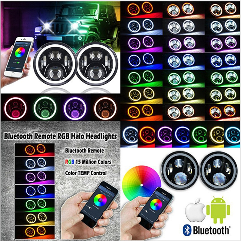 7 LED Headlights Bulb RGB Halo Angel Eye with Bluetooth Remote for 1997~2016 Jeep Wrangler JK LJ CJ Hummer H1 H2 Headlamp free shipping czh618f 100c 100w 2u fm stereo radio transmitter exciter power adjustable from 0 to 100w