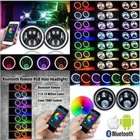 7 LED Headlights Bulb RGB Halo Angel Eye With Bluetooth Remote For 1997 2016 Jeep Wrangler